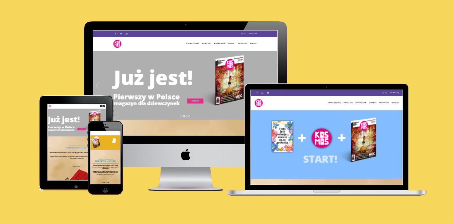 Strona www i e-commerce Fundacji KOsmos dla Dziewczynek